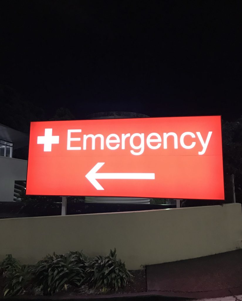 Emergency sign at Auckland hospital