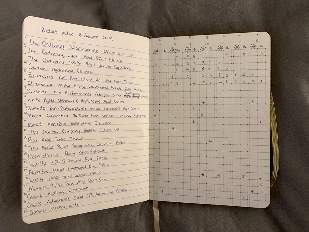 Journal listing skincare products on the left, and a chart of day and night time routine records.