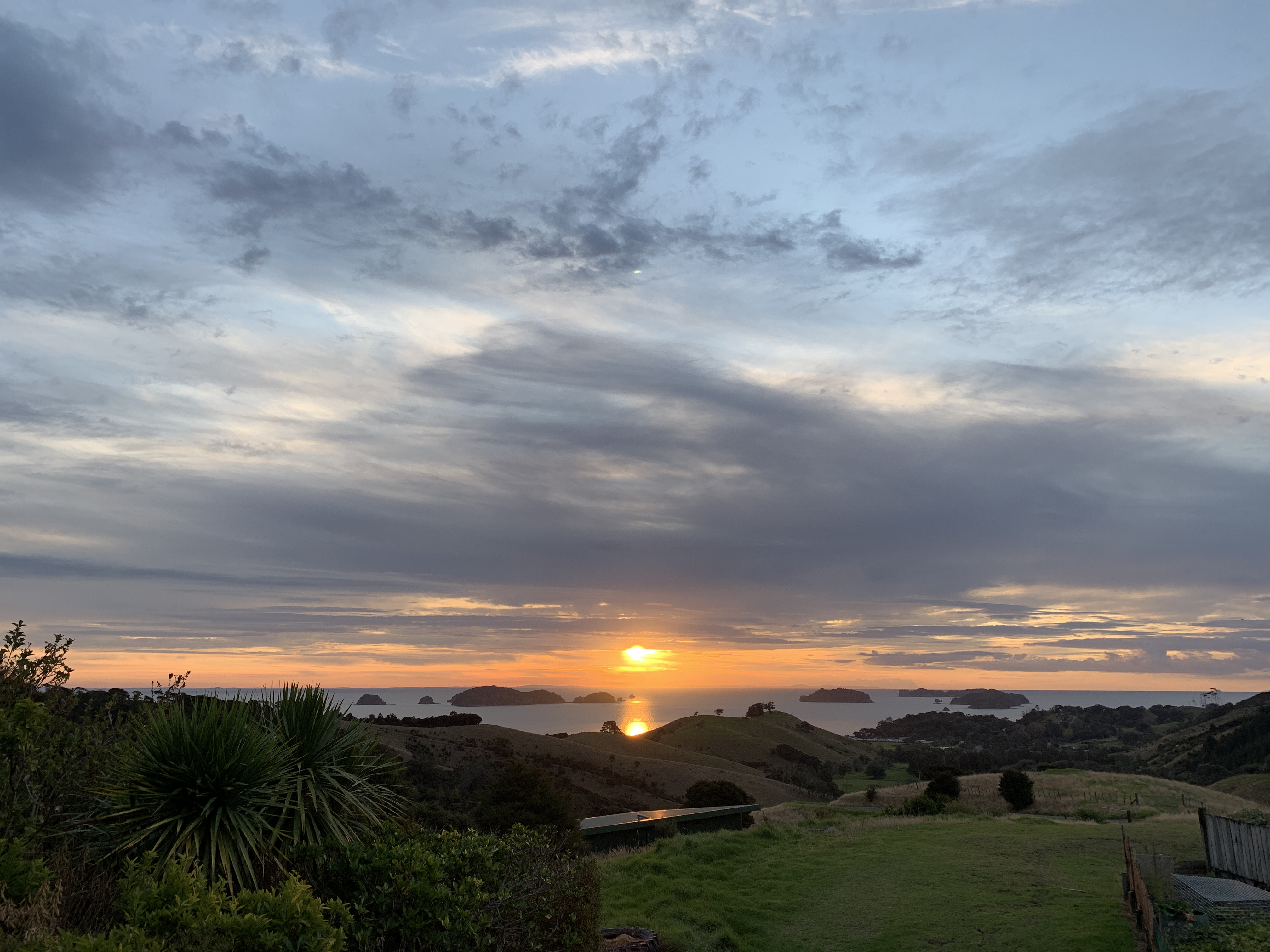 Sunset from the Whittle family home in Papa Aroha